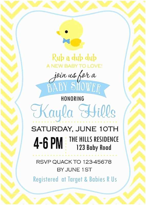 Duck Baby Shower Invitations Rubber Ducky Baby Shower Invitation for Boy and by