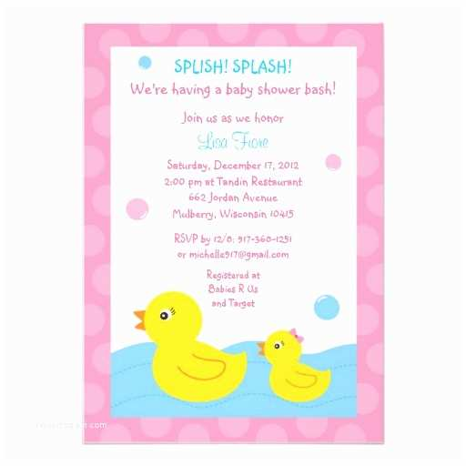 "Duck Baby Shower Invitations Rubber Ducky Duck Girl Baby Shower Invitations 5"" X 7"