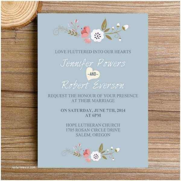 Dusty Blue and Cranberry Wedding Invitations Dusty Blue Floral Bohemian Wedding Invitation Kits Ewi380