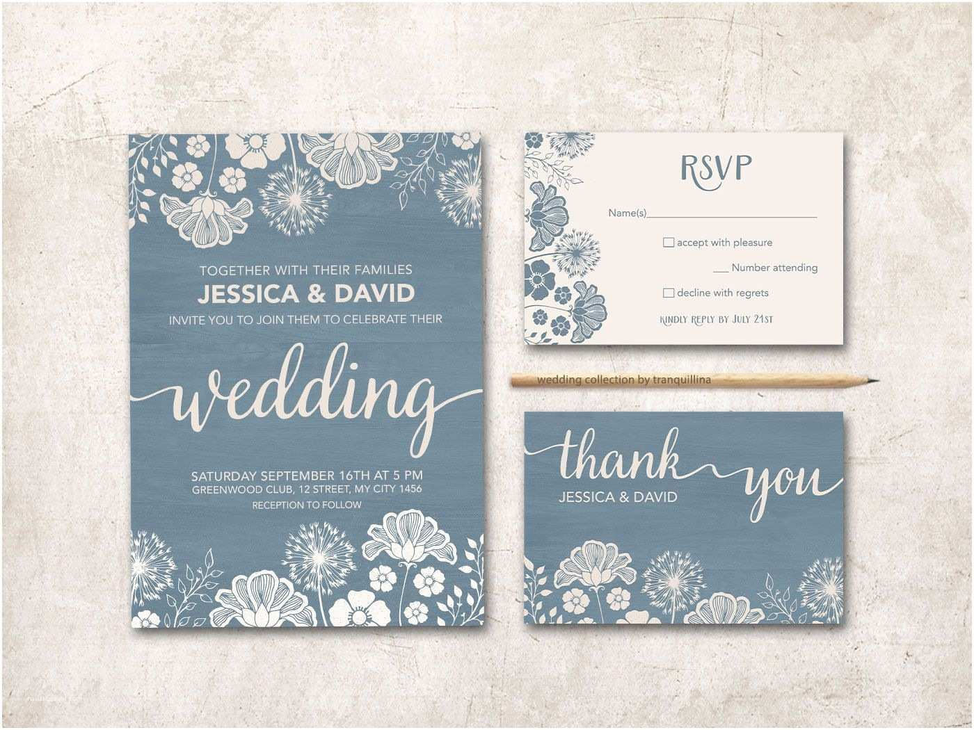 Dusty Blue and Cranberry Wedding Invitations Modern Wedding Invitation Printable Rustic Wedding