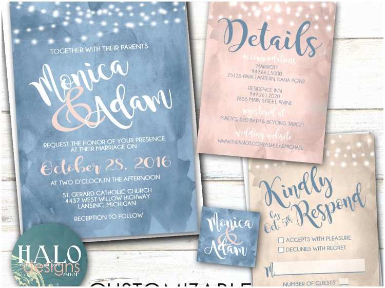 Dusty Blue and Cranberry Wedding Invitations Watercolor Wedding Invitation Any Color Dusty Blue