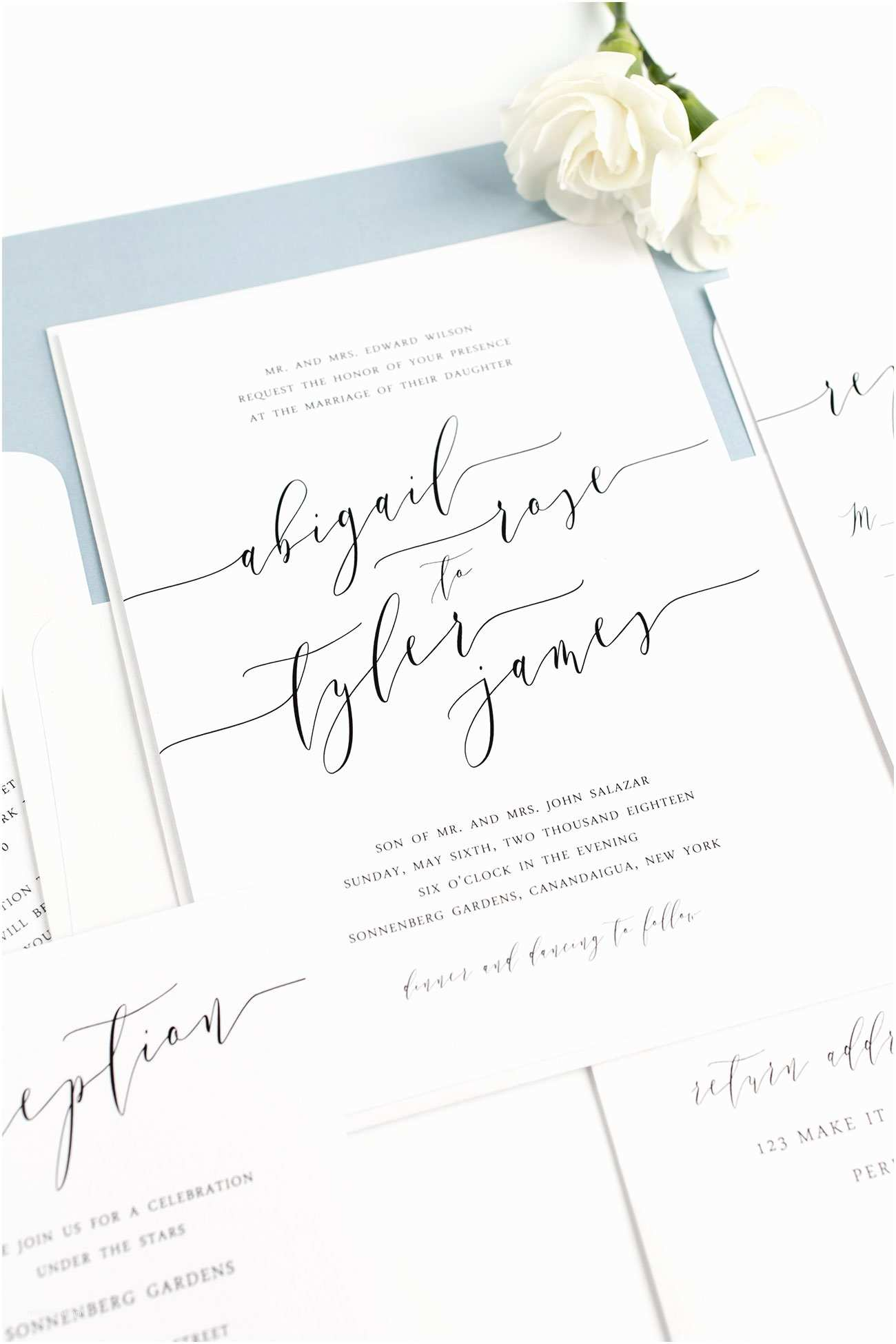 Dusty Blue Wedding Invitations Calligraphy Search Results