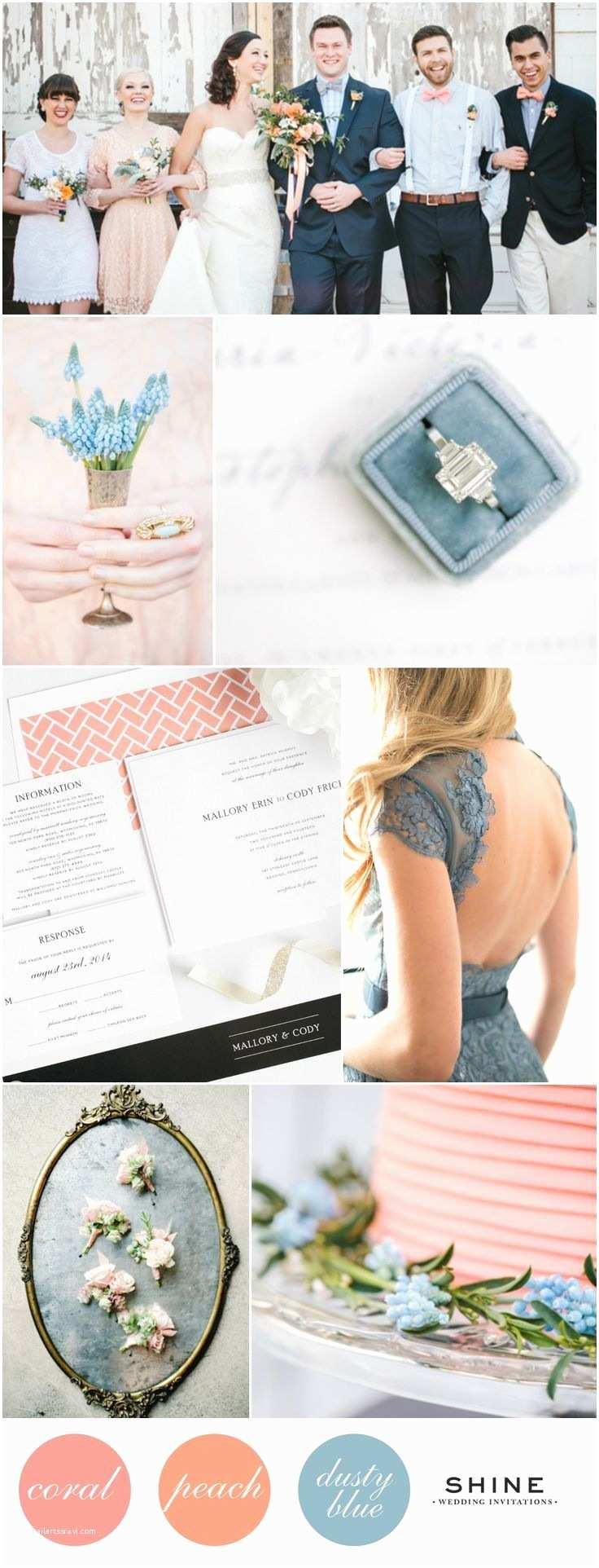Dusty Blue Wedding Invitations Coral Peach Dusty Blue Wedding Inspiration