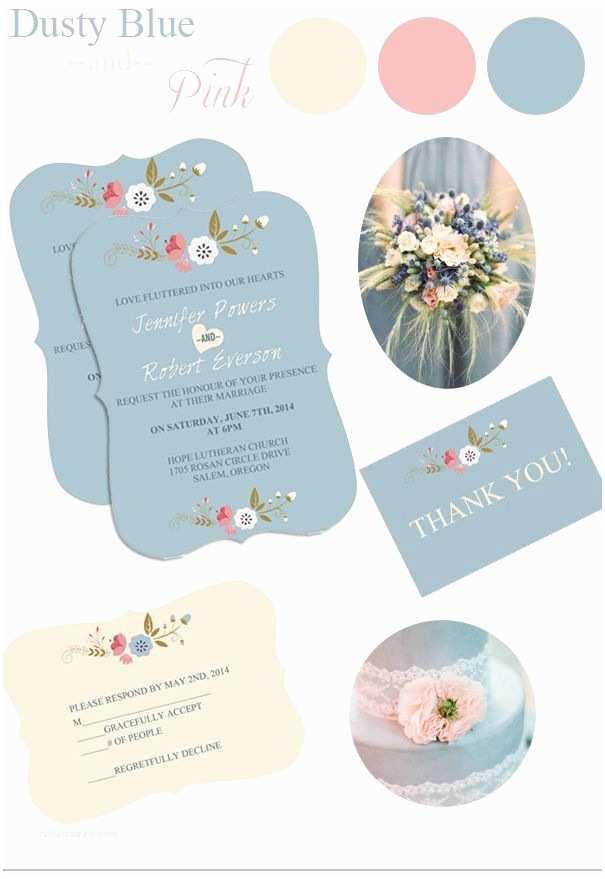 Dusty Blue Wedding Invitations Dusty Blue Floral Bohemian Wedding Invitation Kits Ewi380