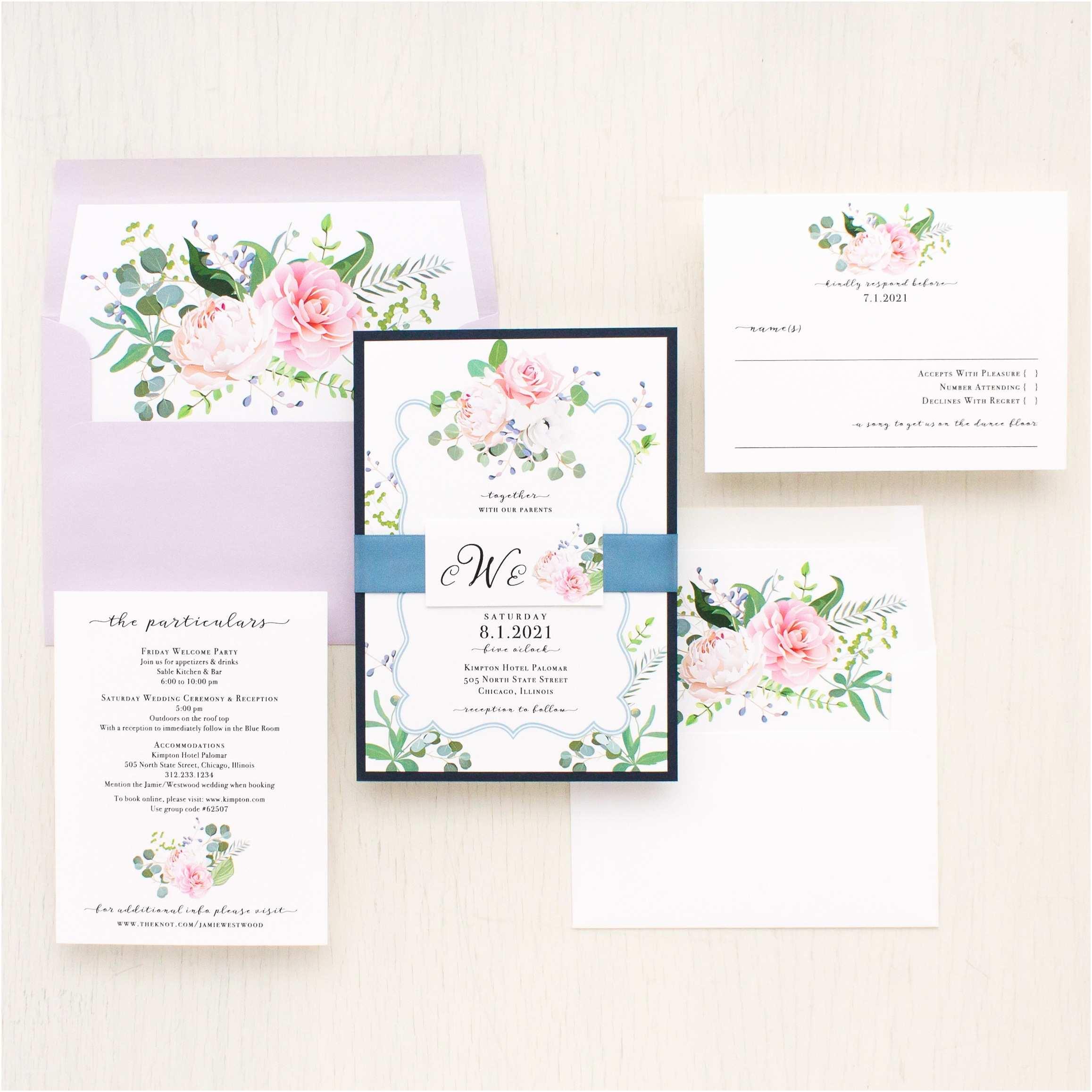 Dusty Blue Wedding Invitations Dusty Blue Floral Wedding Invitations