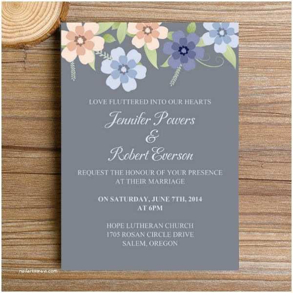 Dusty Blue Wedding Invitations Elegant Dusty Blue Flower Wedding Invitations Ewi382 as