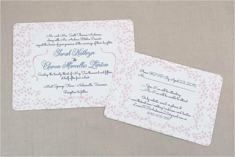 Dusty Blue Wedding Invitations Elegant Floral Wreath Blush Pink and Dusty Blue Layered