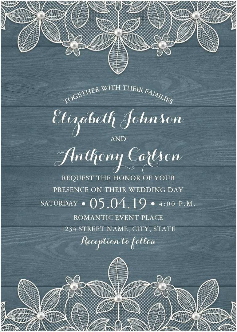 Dusty Blue Wedding Invitations Rustic Lace Wedding Invitation Modern Wedding Invitation