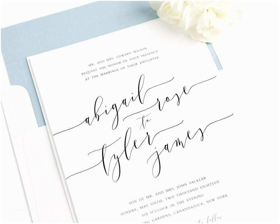Dusty Blue Wedding Invitations Wedding Invitation Romantic Calligraphy Invitation