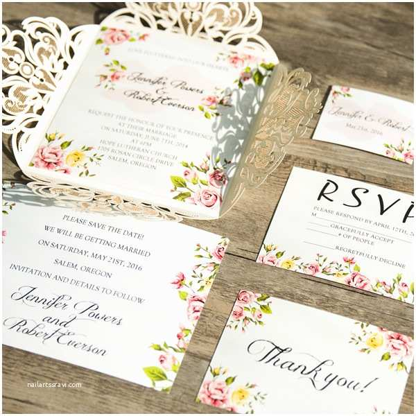 E Wedding Invitation Romantic Peach Flower Spring Ivory Laser Cut Wedding