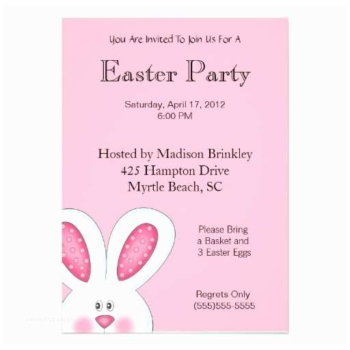 """Easter Party Invitations Easter Bunny Party Invitation 5"""" X 7"""" Invitation Card"""