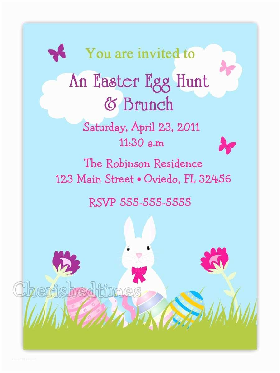 Easter Party Invitations Eggs & Bunny Easter Birthday Party or Baby Shower Invitation