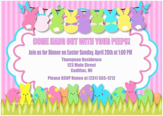 Easter Party Invitations Peeps Easter Invitation Peeps Easter Party