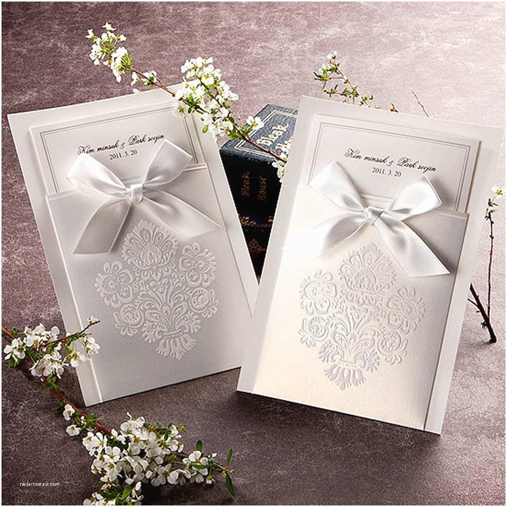 Ebay Wedding Invitations 100 Luxurious White Ribbon Invitations Wedding Invitations