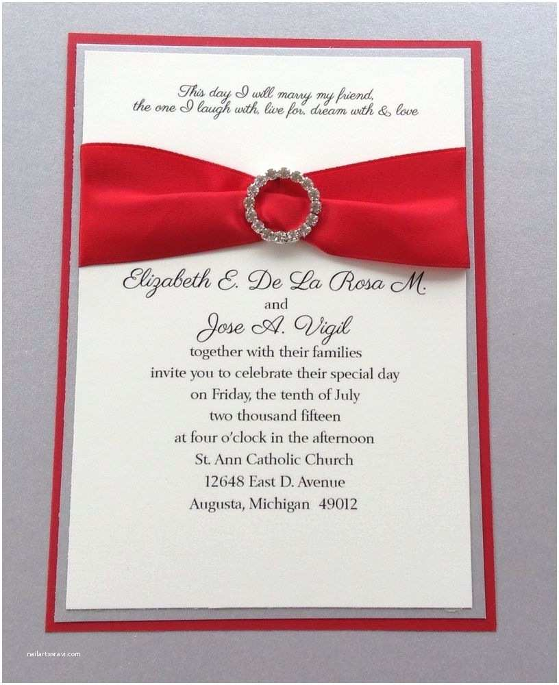 Ebay Wedding Invitations Red and Silver Wedding Invitation Set