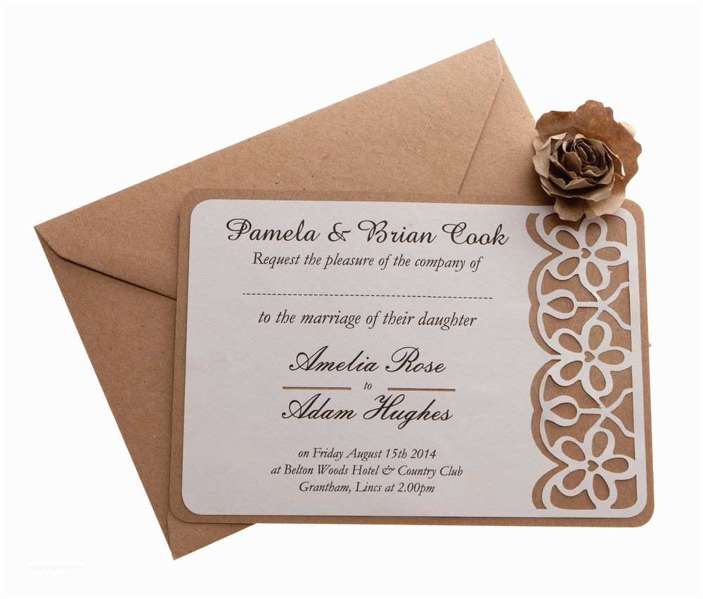 Ebay Wedding Invitations Vintage Brown Kraft & Cream Wedding Invitations A6 Size