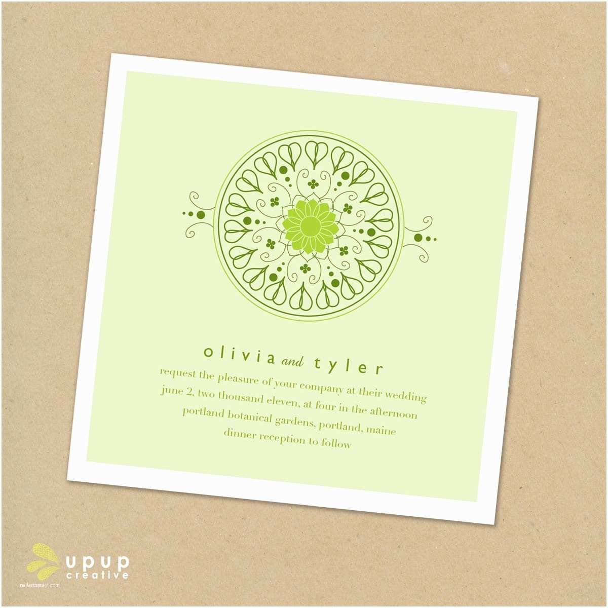 Eco Friendly Wedding Invitations Eco Friendly Square Wedding Invitation Set with Green and