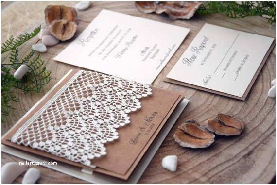 Eco Friendly Wedding Invitations Rustic Wedding Invitations Lace Invitations Pocket