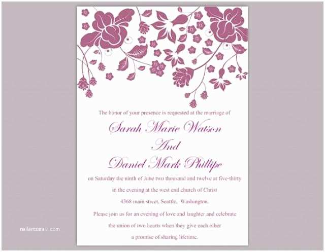 Editable Wedding Invitation Cards Free Download Diy Wedding Invitation Template Editable Word File Instant