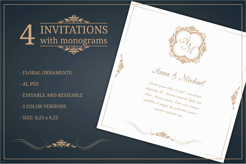 Editable Wedding Invitation Cards Free Download Wedding Invitations With Monograms Invitation
