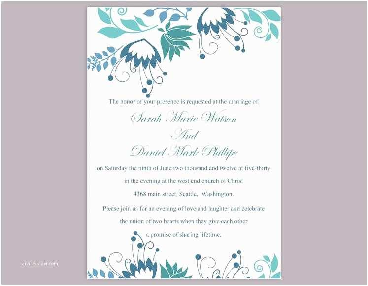 Editable Wedding Invitation Diy Wedding Invitation Template Editable Word File Instant