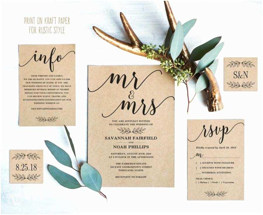 Editable Wedding Invitation Modern Calligraphy Wedding Invitation Printable Wedding