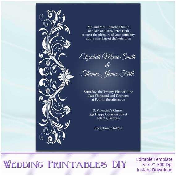 Editable Wedding Invitation Printable Invitation Templates Diy Navy Blue and White