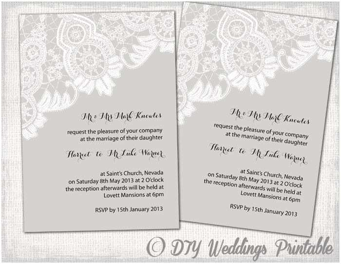 Editable Wedding Invitation Printable Wedding Invitations Template Editable Gray