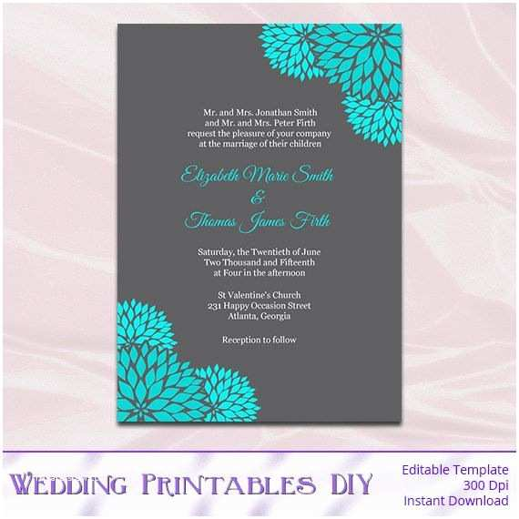 Editable Wedding Invitation Teal and Gray Wedding Invitations Template Diy Printable