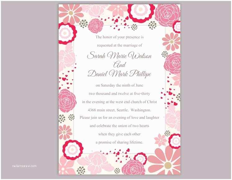 Editable Wedding Invitation Templates Diy Wedding Invitation Template Editable Word File Instant