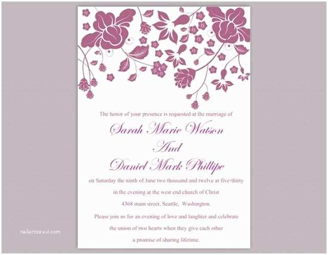 Editable Wedding Invitation Templates Free Download Diy Wedding Invitation Template Editable Word File Instant