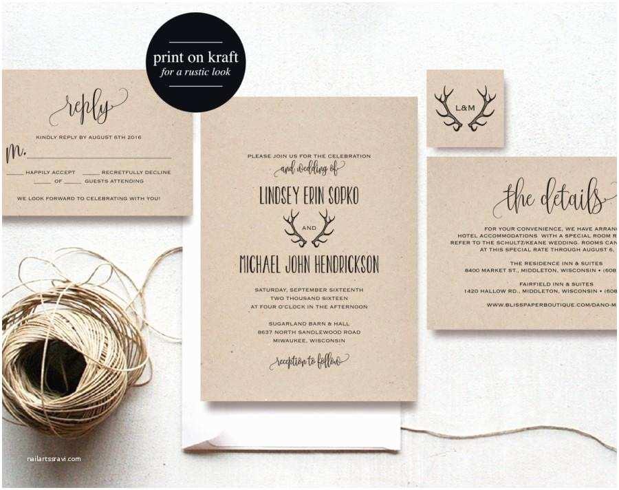 Editable Wedding Invitation Templates Free Download Rustic Antler Wedding Invitation Wedding Invitation