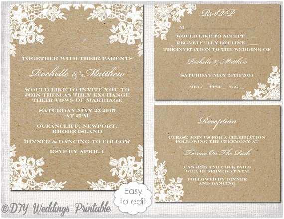 """Editable Wedding Invitation Templates Free Download Rustic Wedding Invitation Set Diy """"rustic Lace"""" Printable"""
