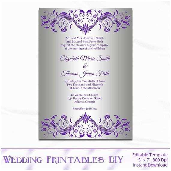 Editable Wedding Invitation Templates Free Download Silver Foil Wedding Invitation Template Diy Purple and