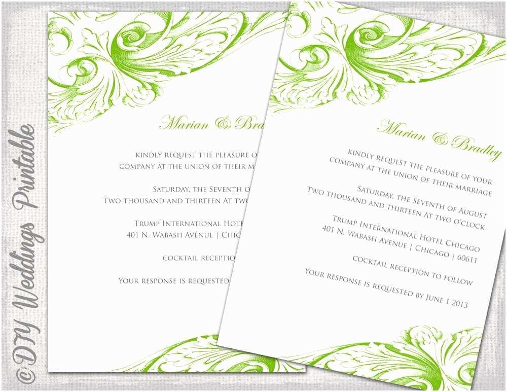 wedding invitation template green diy