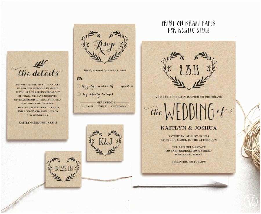 Editable Wedding Invitation Templates Rustic Wedding Invitation Template Printable Invitations