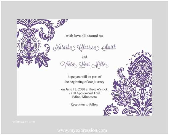 Editable Wedding Invitation Templates Wedding Invitation Template Purple Damask by Myexpressionshop