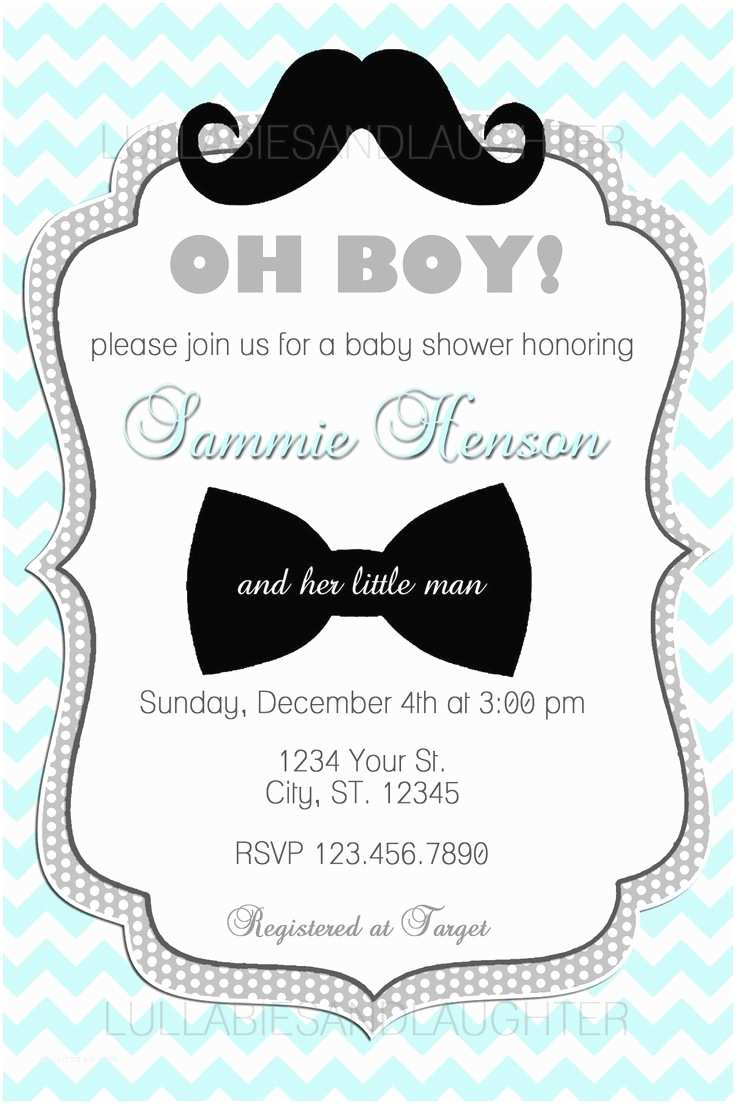 Electronic Baby Shower Invitations Custom Chevron Mustache Boy Baby Shower Invitation Digital