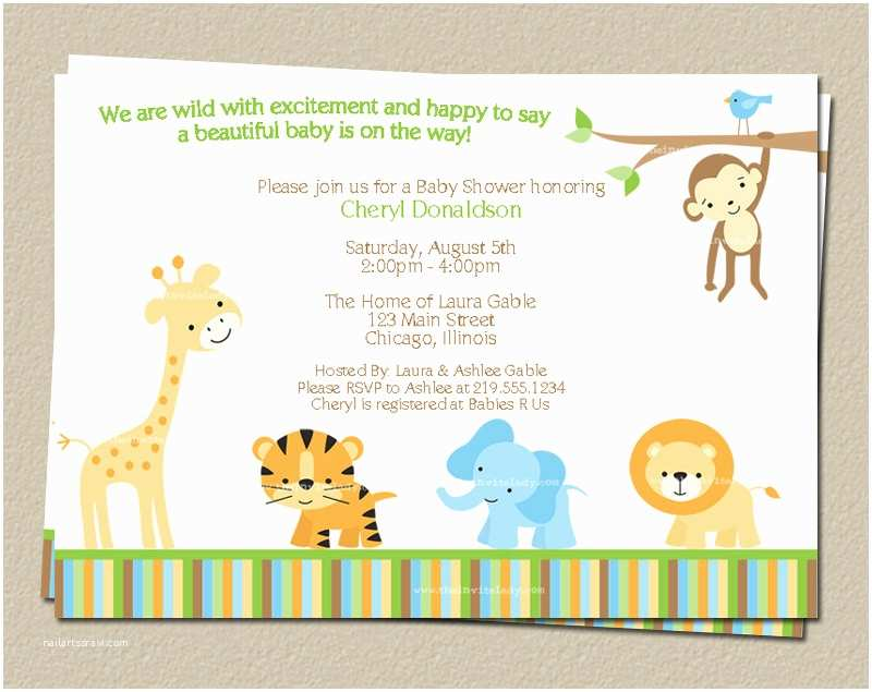 Electronic Baby Shower Invitations Digital Jungle theme Baby Shower Invitation Safari Zoo