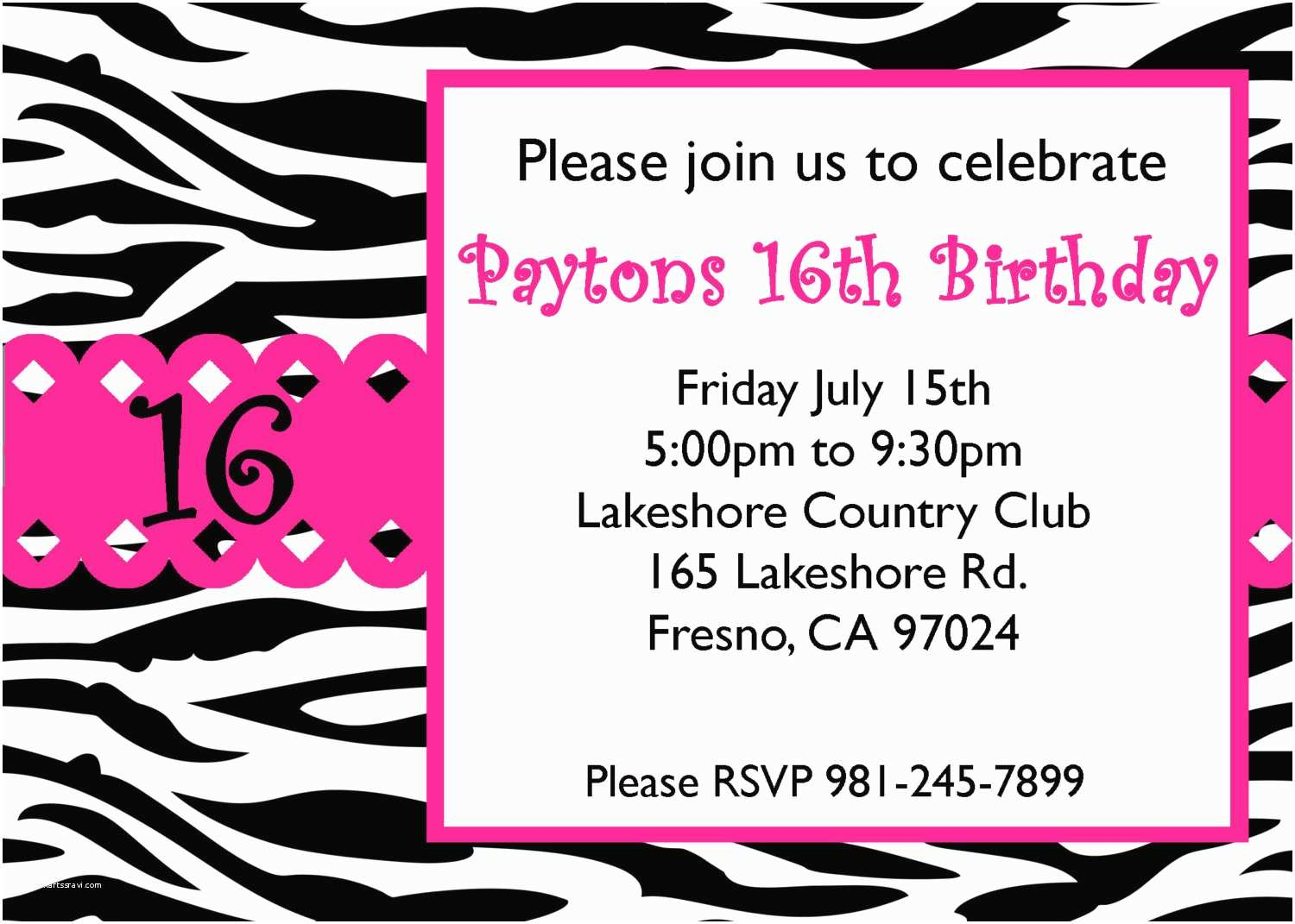 Electronic Party Invitations 16 Birthday Invitations for Girls