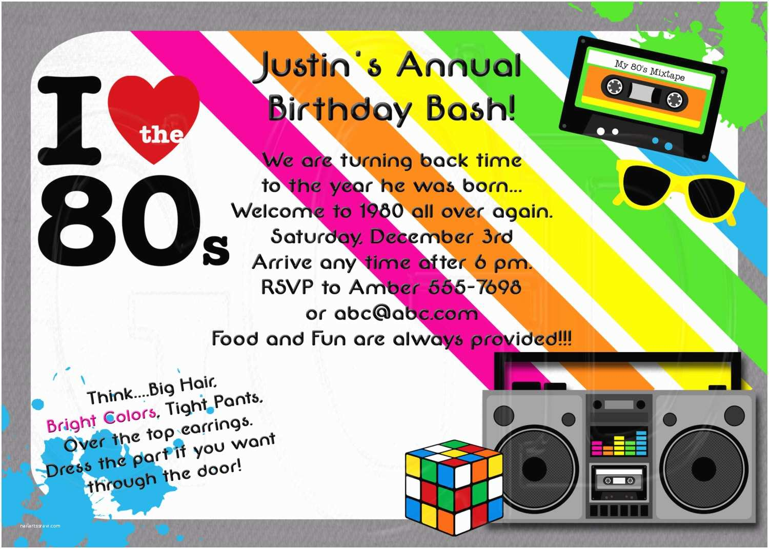 Electronic Party Invitations 1980 S Invitation 80 S theme Party Digital by