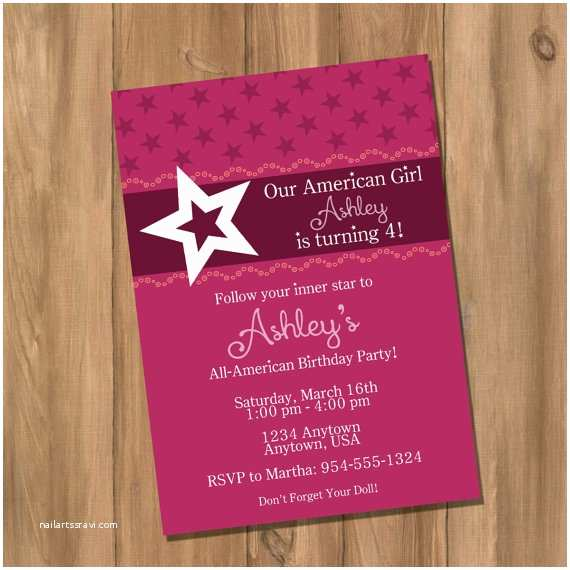 Electronic Party Invitations American Doll Girl Birthday Party Invitation Digital Diy