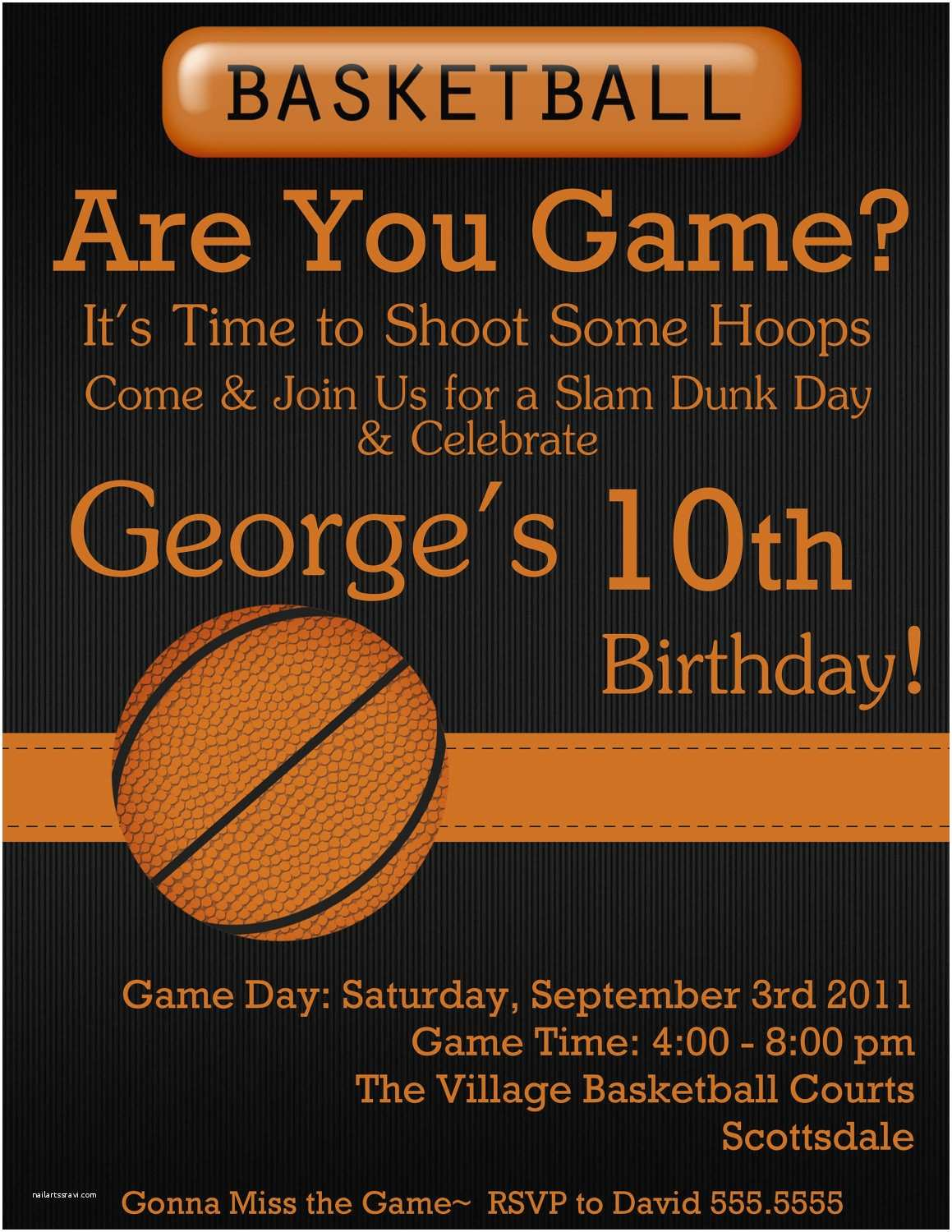 Electronic Party Invitations Basketball Digital Birthday Invitation