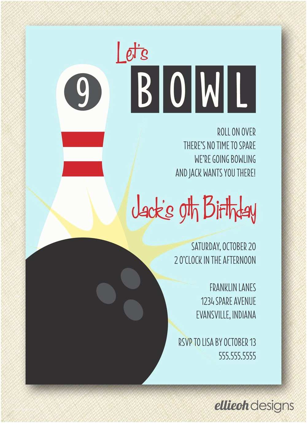 Electronic Party Invitations Bowling Birthday Party Invite Printable Digital File Diy