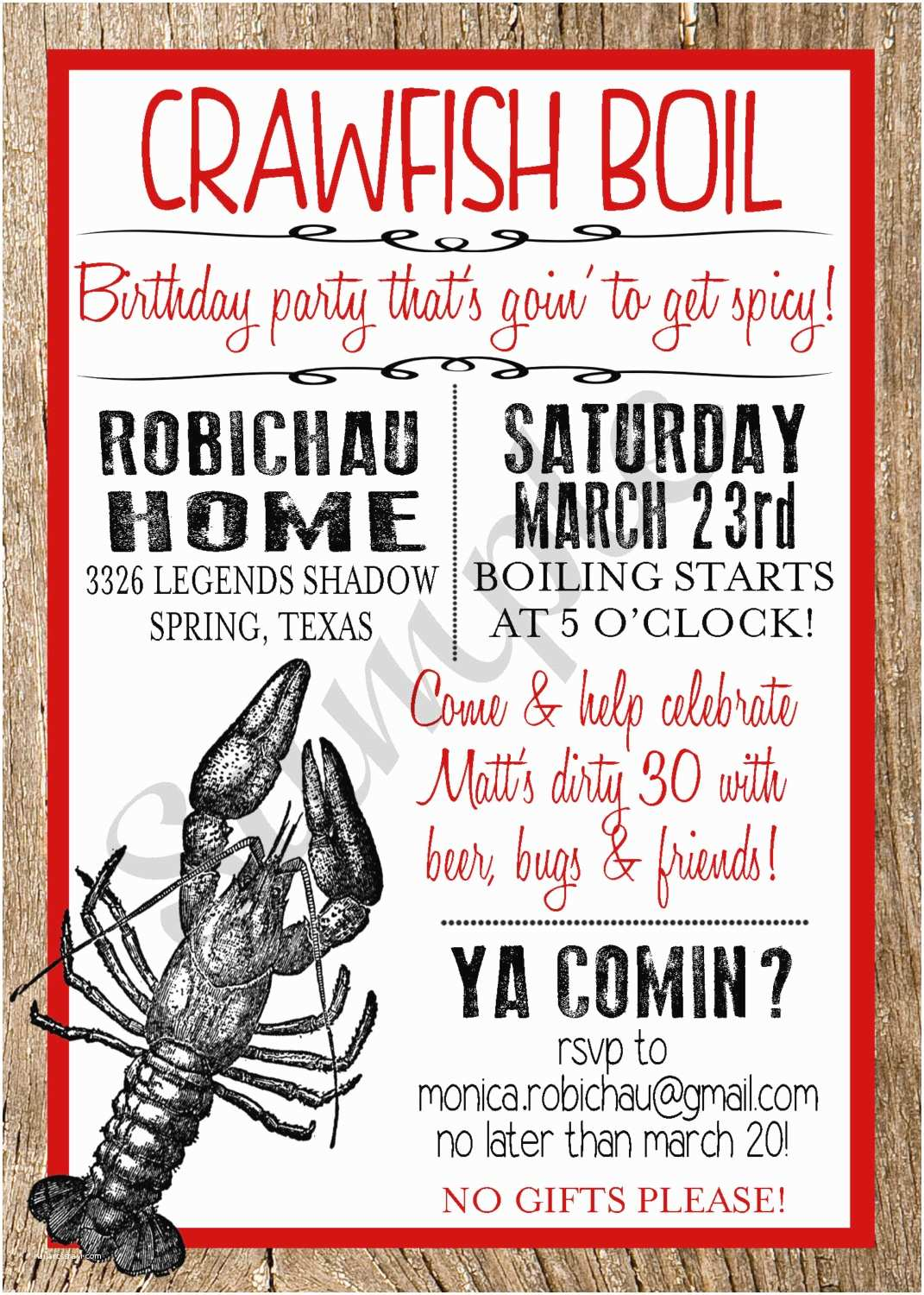 Electronic Party Invitations Crawfish Boil Custom Digital Invitation by Markedbymonica