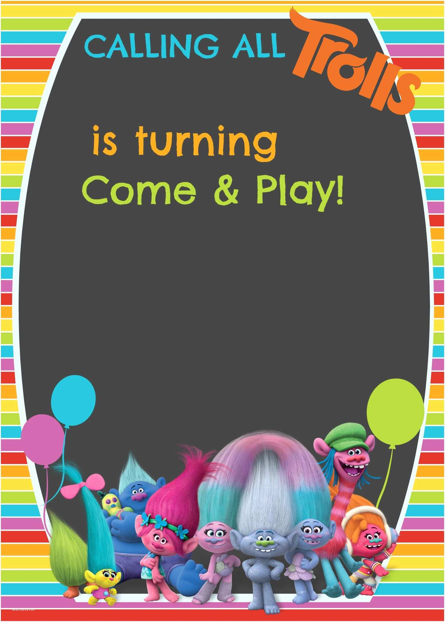 Electronic Party Invitations Free Trolls Digital Invitation