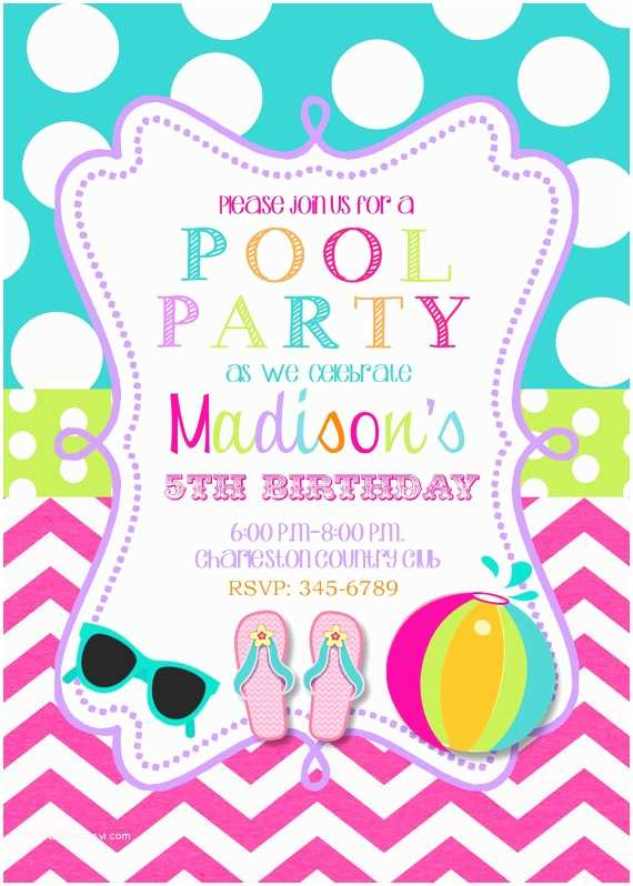 Electronic Party Invitations Pool Party Birthday Party Invitations Printable or Digital