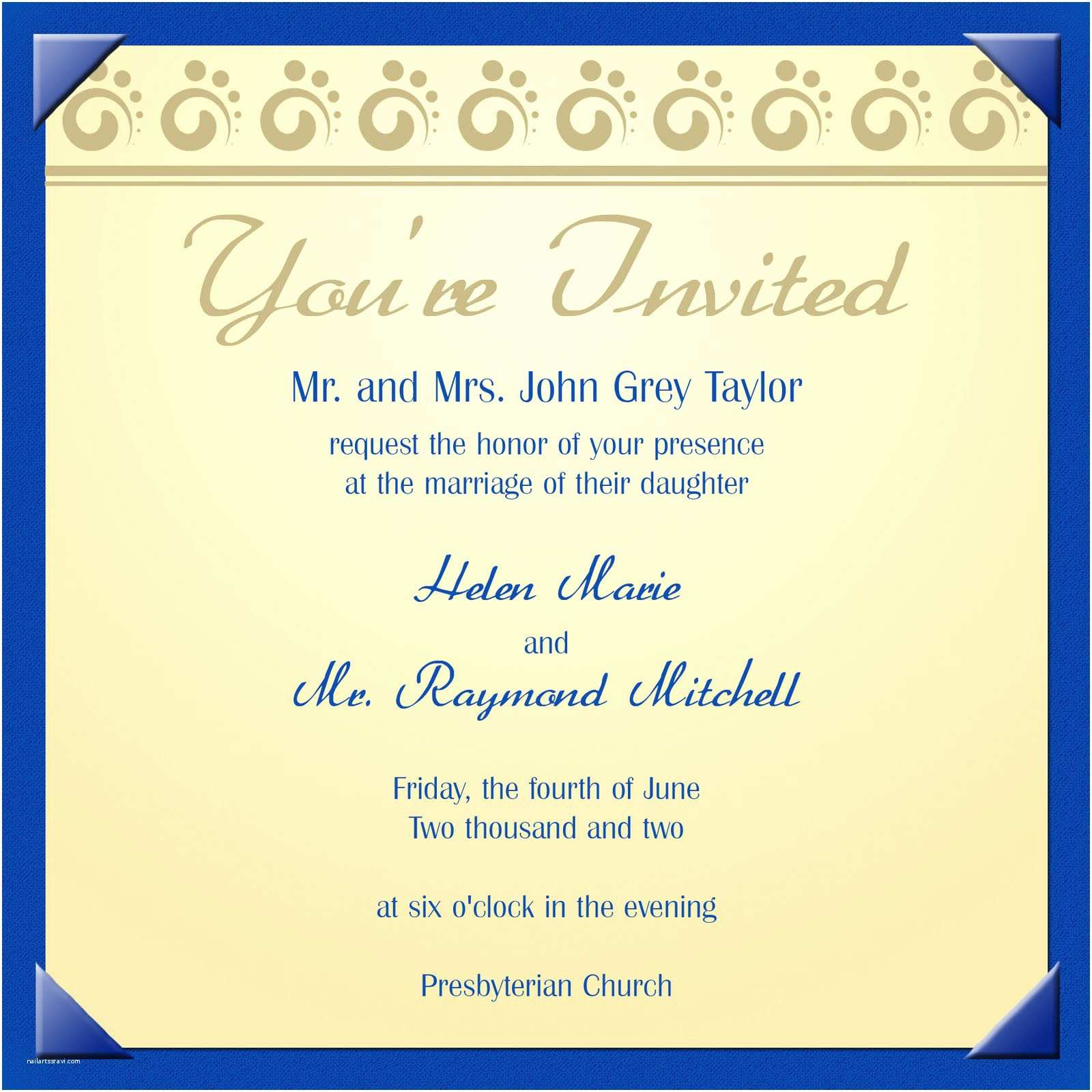 Electronic Wedding Invitations Electronic Invitation Template