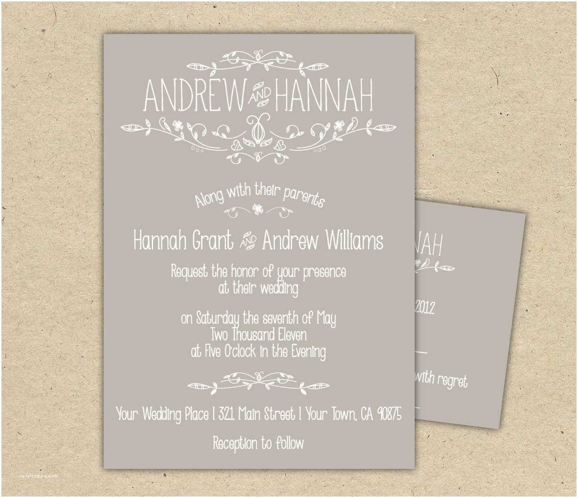 Electronic Wedding Invitations Vintage Wedding Invitation and Rsvp P R I N T E D Country