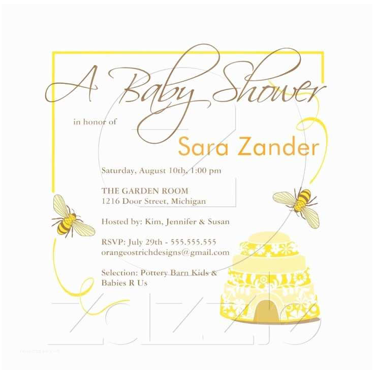 Elegant Baby Shower Invitations Bumble Bee Baby Shower Invitation
